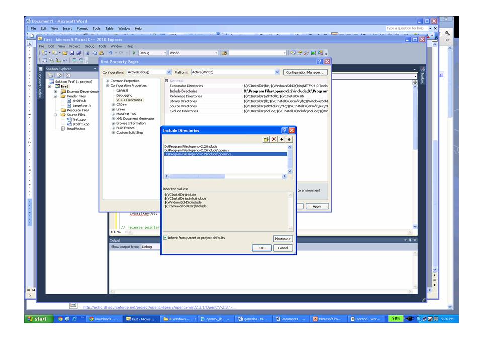 Installing and using OpenCV with Visual Studio 2010 express