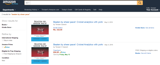 Beaten by sheer pace! Cricket analytics with yorkr in paperback and Kindle versions