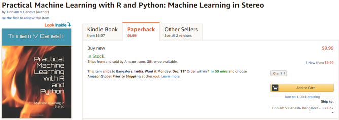 My book 'Practical Machine Learning with R and Python' on Amazon