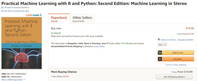 My Book Practical Machine Learning With R And Python On Amazon