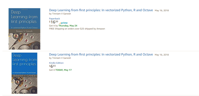 "My book ""Deep Learning from first principles"" now on Amazon"