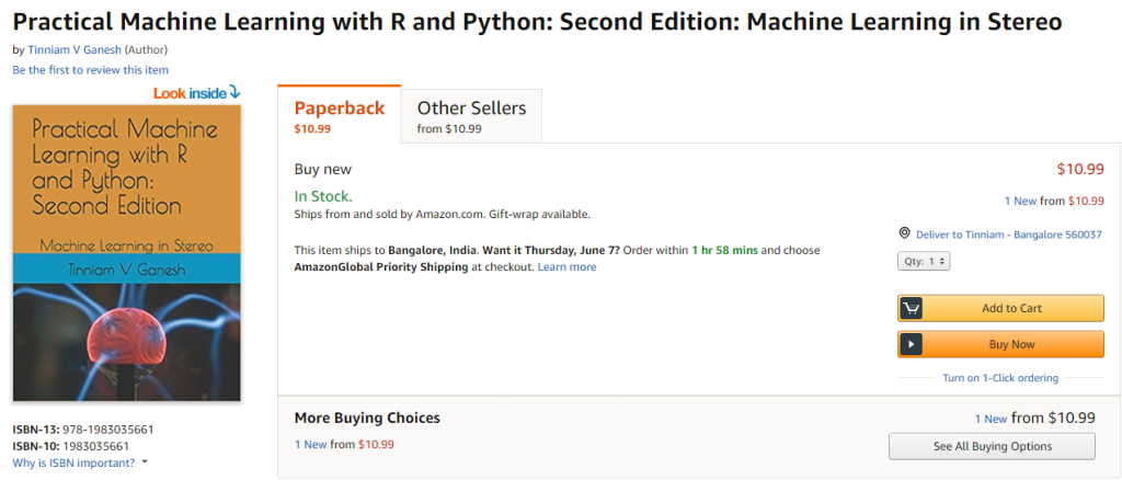 My book 'Practical Machine Learning in R and Python: Second edition