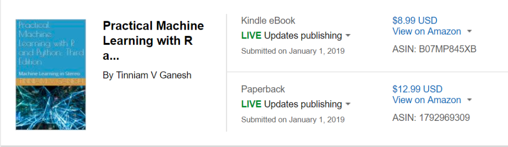 My book 'Practical Machine Learning in R and Python: Third