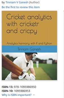 My book 'Cricket analytics with cricketr and cricpy' is now on Amazon